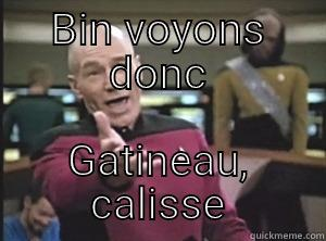 BIN VOYONS DONC GATINEAU, CALISSE Annoyed Picard