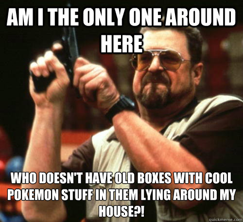 Am i the only one around here who doesn't have old boxes with cool pokemon stuff in them lying around my house?! - Am i the only one around here who doesn't have old boxes with cool pokemon stuff in them lying around my house?!  Am I The Only One Around Here