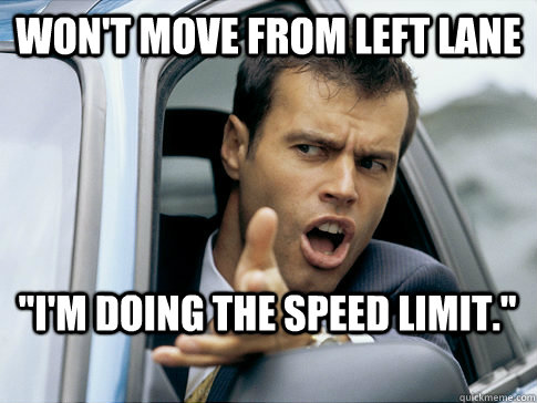 won't move from left lane