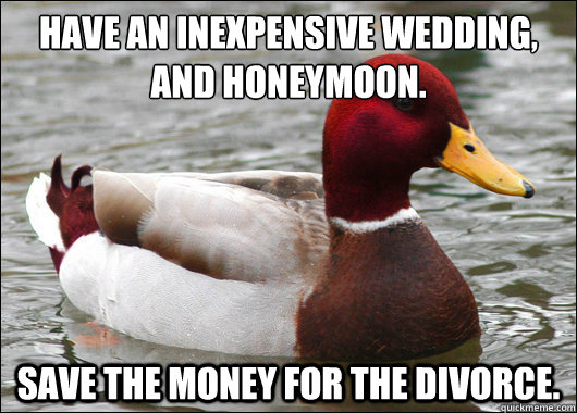 HAVE AN INEXPENSIVE WEDDING, AND HONEYMOON.  SAVE THE MONEY FOR THE DIVORCE. - HAVE AN INEXPENSIVE WEDDING, AND HONEYMOON.  SAVE THE MONEY FOR THE DIVORCE.  Malicious Advice Mallard