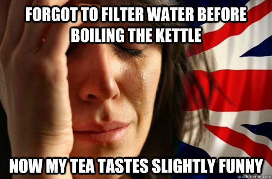 Forgot to filter water before boiling the kettle now my tea tastes slightly funny  British First World Problems