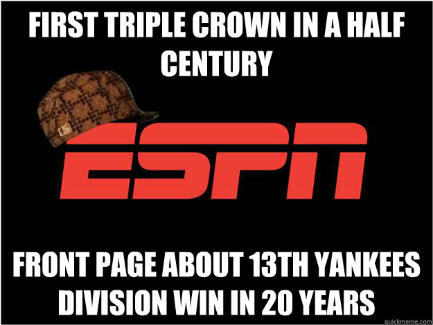 First Triple Crown in a half century Front page about 13th yankees division win in 20 years - First Triple Crown in a half century Front page about 13th yankees division win in 20 years  Misc