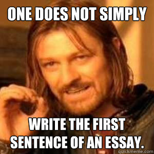 one does not simply write the first sentence of an essay. - one does not simply write the first sentence of an essay.  essay