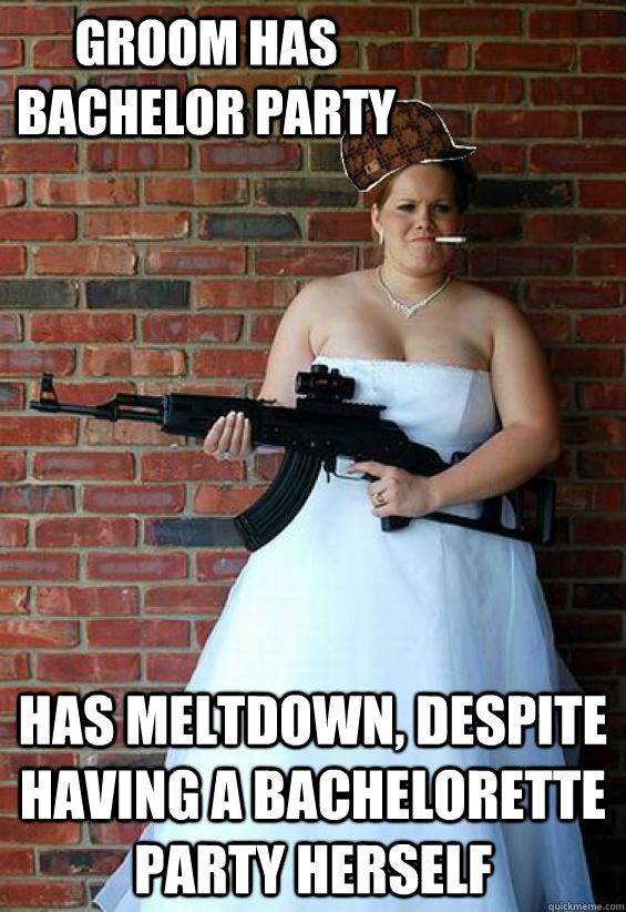 groom has bachelor party has meltdown, despite having a bachelorette party herself