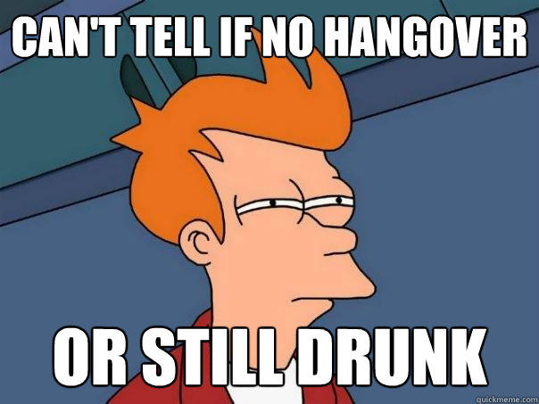 Can't tell if no hangover or still drunk - Can't tell if no hangover or still drunk  Futurama Fry