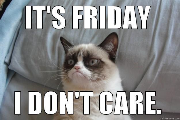 IT'S FRIDAY I DON'T CARE. Grumpy Cat