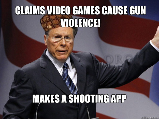 claims Video Games cause gun violence! makes a shooting app