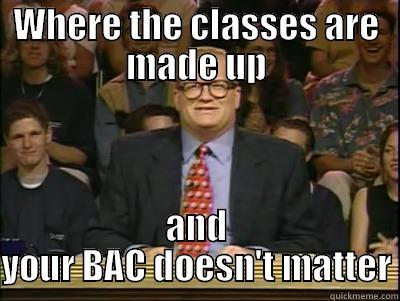 WHERE THE CLASSES ARE MADE UP AND YOUR BAC DOESN'T MATTER Its time to play drew carey