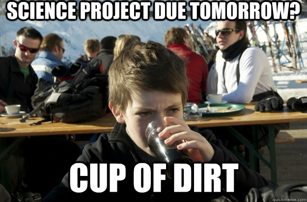 Science project due tomorrow? cup of dirt - Science project due tomorrow? cup of dirt  Lazy Primary School Student