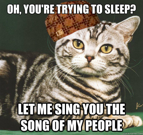 oh, you're trying to sleep? let me sing you the song of my people