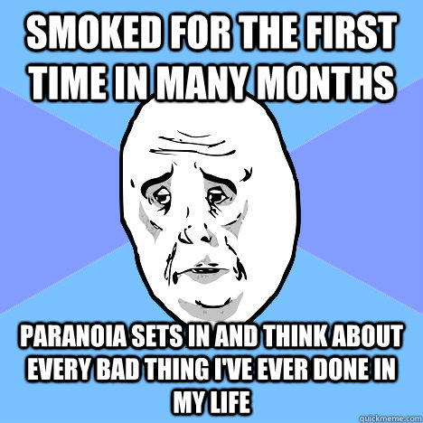 Smoked for the first time in many months Paranoia sets in and think about every bad thing I've ever done in my life - Smoked for the first time in many months Paranoia sets in and think about every bad thing I've ever done in my life  Okay Guy