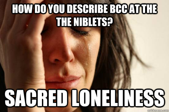 how do you describe bcc at the the niblets? sacred loneliness - how do you describe bcc at the the niblets? sacred loneliness  First World Problems