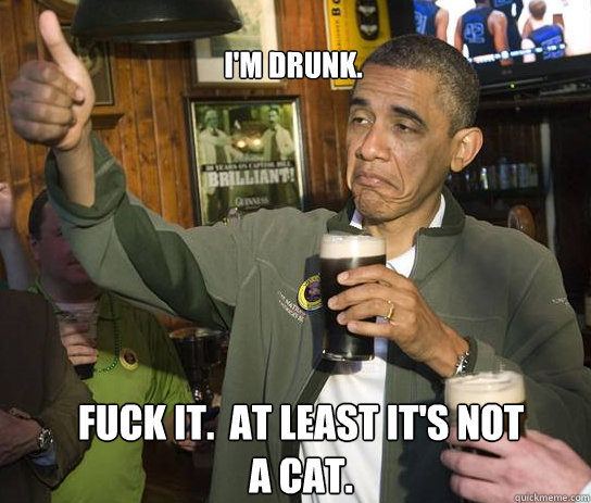 I'm Drunk.  Fuck it.  at least it's not a cat. - I'm Drunk.  Fuck it.  at least it's not a cat.  Upvoting Obama