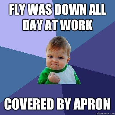 Fly was down all day at work Covered by apron - Fly was down all day at work Covered by apron  Success Kid