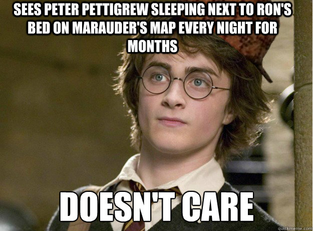 sees peter pettigrew sleeping next to ron's bed on marauder's map every night for months doesn't care