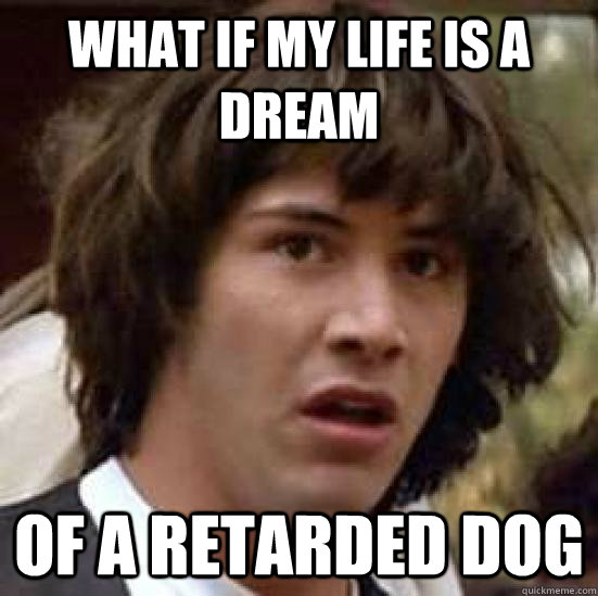 What if my life is a dream of a retarded dog - What if my life is a dream of a retarded dog  conspiracy keanu