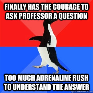 Finally has the courage to ask professor a question Too much adrenaline rush to understand the answer