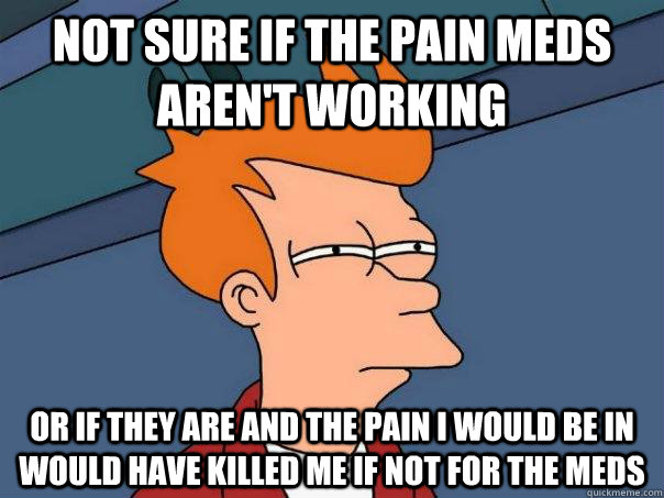 not sure if the pain meds aren't working or if they are and the pain i would be in would have killed me if not for the meds - not sure if the pain meds aren't working or if they are and the pain i would be in would have killed me if not for the meds  Futurama Fry