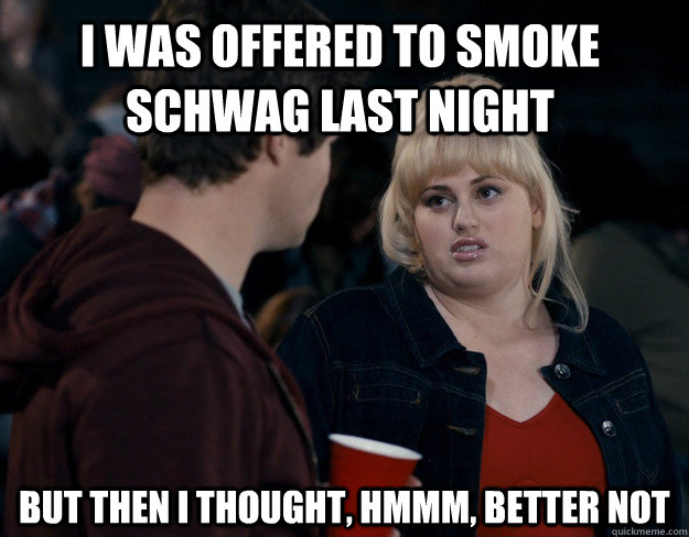 I was offered to smoke schwag last night But then I thought, hmmm, better not - I was offered to smoke schwag last night But then I thought, hmmm, better not  Fat Amy