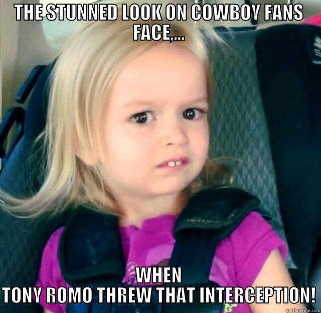 KID IN DISGUST - THE STUNNED LOOK ON COWBOY FANS FACE,... WHEN TONY ROMO THREW THAT INTERCEPTION! Misc
