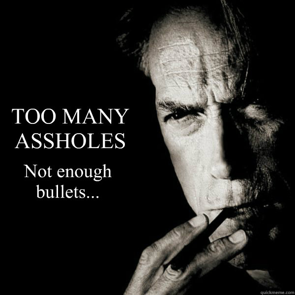 TOO MANY ASSHOLES Not enough bullets...