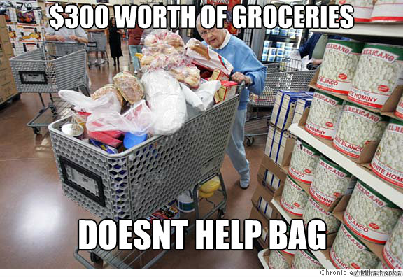 $300 worth of groceries doesnt help bag