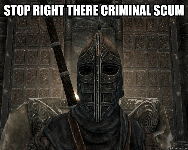 Stop Right there criminal scum - Skyrim City Guard - quickmeme