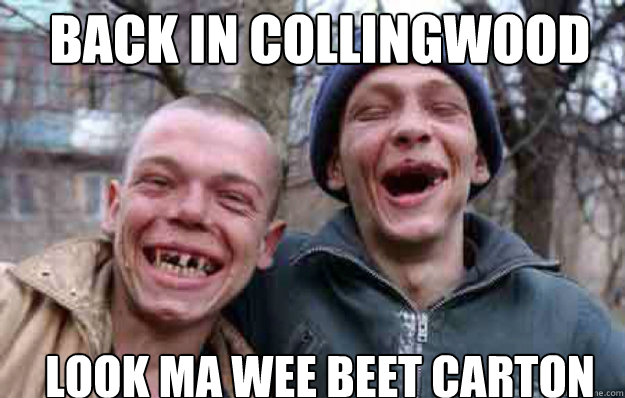 BACK IN COLLIngwood LOOK MA WEE BEET CARTON