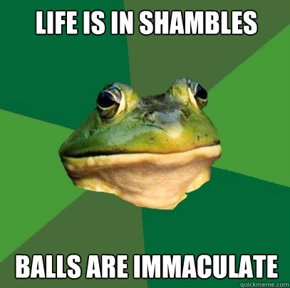 Life is in shambles balls are immaculate - Life is in shambles balls are immaculate  Foul Bachelor Frog