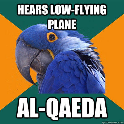 hears low-flying plane al-qaeda - hears low-flying plane al-qaeda  Paranoid Parrot