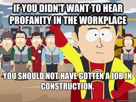 if you didn't want to hear profanity in the workplace you should not have gotten a job in construction. - if you didn't want to hear profanity in the workplace you should not have gotten a job in construction.  Captain Hindsight