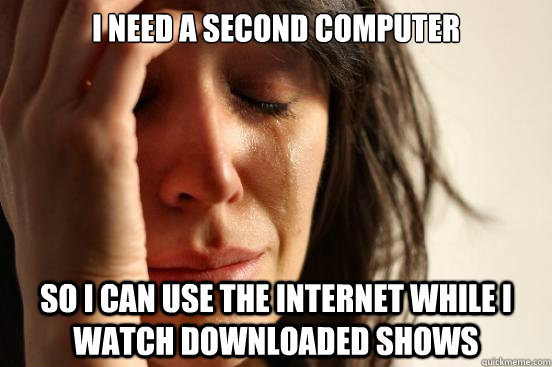 I need a second computer So I can use the internet while I watch downloaded shows - I need a second computer So I can use the internet while I watch downloaded shows  First World Problems
