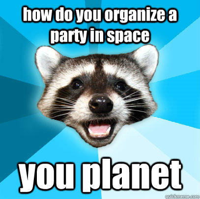 how do you organize a party in space you planet - how do you organize a party in space you planet  Lame Pun Coon