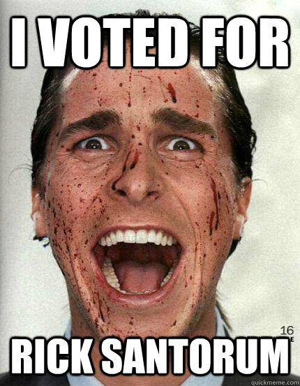 I Voted For Rick Santorum - I Voted For Rick Santorum  Confused Christian Bale