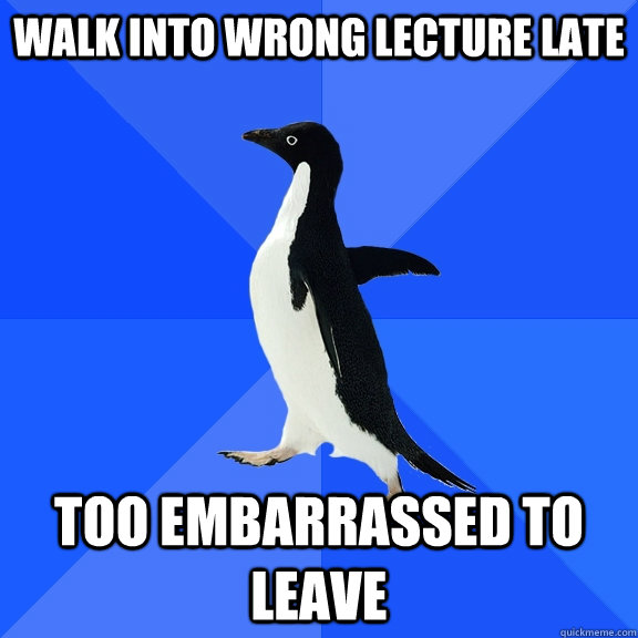 Walk into wrong lecture late too embarrassed to leave - Walk into wrong lecture late too embarrassed to leave  Socially Awkward Penguin