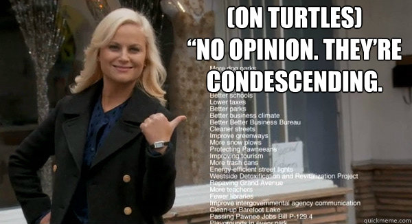 """(On Turtles)  """"No opinion. They're condescending."""