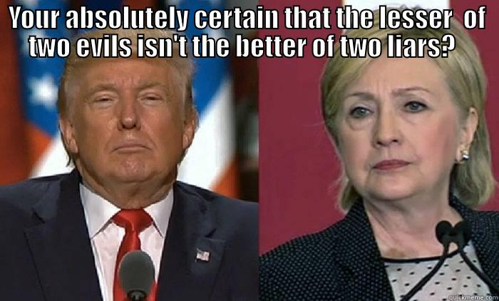 YOUR ABSOLUTELY CERTAIN THAT THE LESSER  OF TWO EVILS ISN'T THE BETTER OF TWO LIARS?    Misc