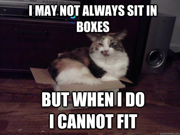I may not always sit in boxes But when I do I cannot fit - I may not always sit in boxes But when I do I cannot fit  most interesting fat cat