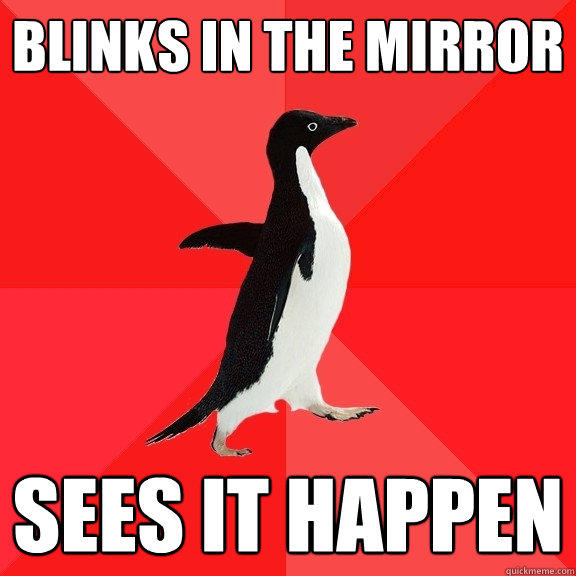 Blinks in the mirror sees it happen - Blinks in the mirror sees it happen  Socially Awesome Penguin