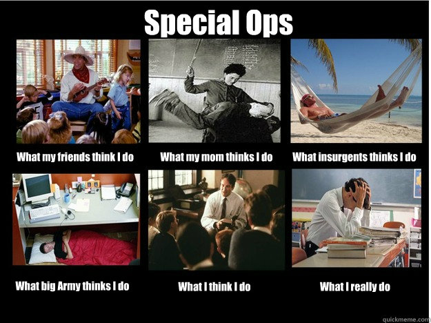 Special Ops  What my friends think I do What my mom thinks I do What insurgents thinks I do What big Army thinks I do What I think I do What I really do  What People Think I Do