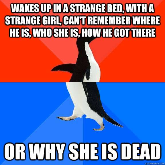wakes up in a strange bed, with a strange girl, Can't remember where he is, who she is, how he got there or why she is dead - wakes up in a strange bed, with a strange girl, Can't remember where he is, who she is, how he got there or why she is dead  Socially Awesome Awkward Penguin