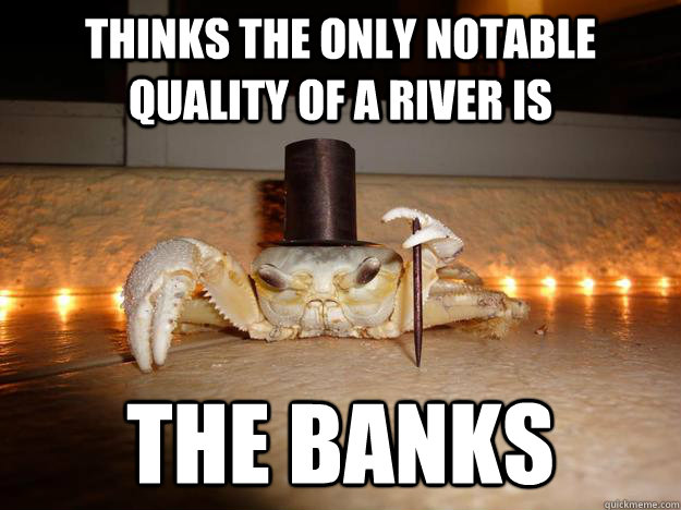 thinks the only notable quality of a river is the banks  Fancy Crab