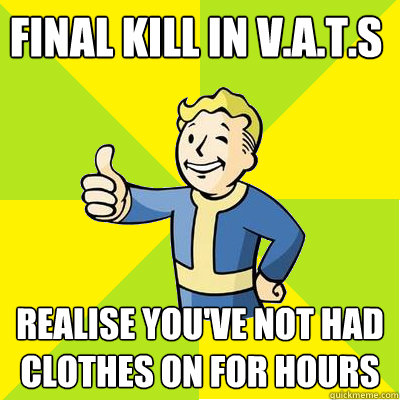 final kill in V.A.T.S realise you've not had clothes on for hours  Fallout new vegas