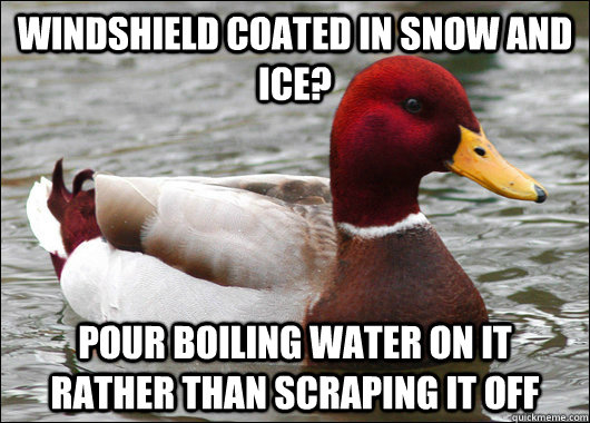 Windshield coated in snow and ice? Pour boiling water on it rather than scraping it off - Windshield coated in snow and ice? Pour boiling water on it rather than scraping it off  Malicious Advice Mallard