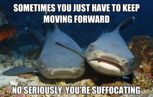 sometimes You just have to keep moving forward  no seriously, you're suffocating - sometimes You just have to keep moving forward  no seriously, you're suffocating  Compassionate Shark Friend