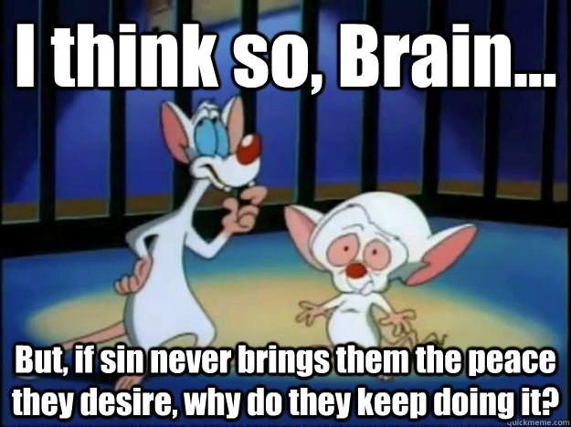 I think so, Brain... But, if sin never brings them the peace they desire, why do they keep doing it? - I think so, Brain... But, if sin never brings them the peace they desire, why do they keep doing it?  Pinky and the Brain