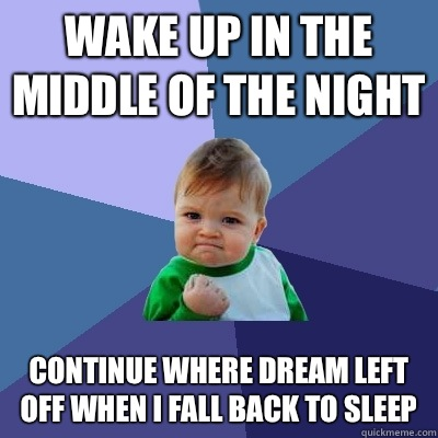 Wake up in the middle of the night Continue where dream left off when I fall back to sleep - Wake up in the middle of the night Continue where dream left off when I fall back to sleep  Success Kid