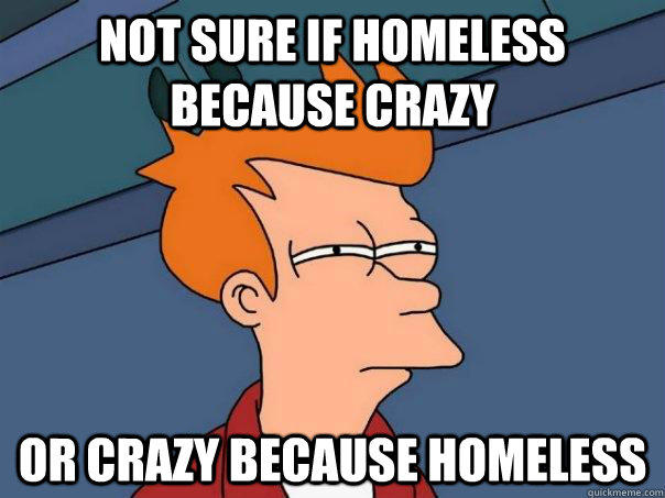 Not sure if homeless because crazy or crazy because homeless - Not sure if homeless because crazy or crazy because homeless  Futurama Fry