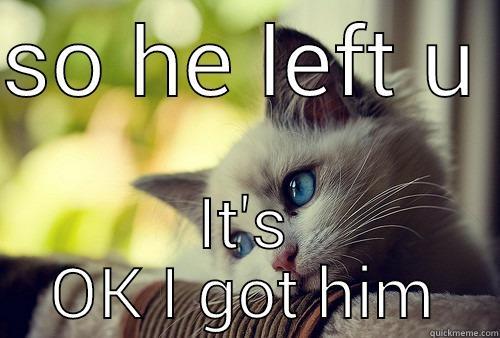 SO HE LEFT U  IT'S OK I GOT HIM First World Problems Cat