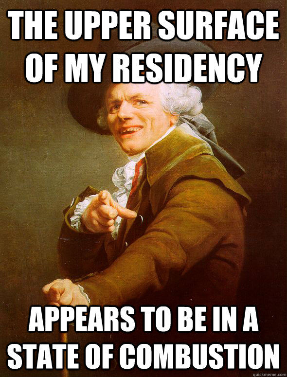 the upper surface of my residency appears to be in a state of combustion - the upper surface of my residency appears to be in a state of combustion  Joseph Ducreux